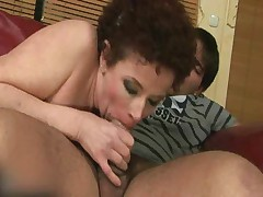 Curly Hairy Granny Suck and Fucks Young Dude