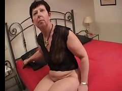 Red Nails Granny Fingers Toys and Spreads Then Sucks a Cock