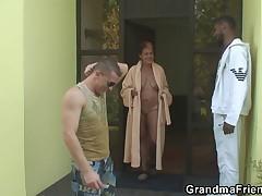Granny takes two big cocks