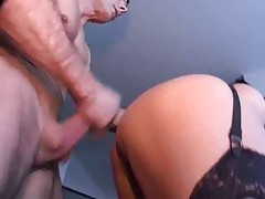 Granny in PVC and Stockings Eats Cock and Fucks