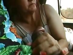 Granny Sucks in the Car and Fucks at Home