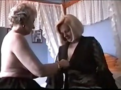 Two grannies in lingerie and stockings