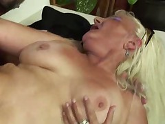 Blonde Granny in Fishnet Stockings Fucks