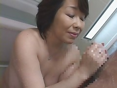 Japanese mommy takes shower with her Son's friend!