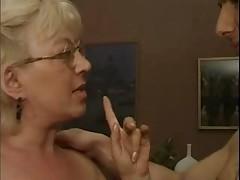 Blonde Granny in White Fishnet Stockings Fucks