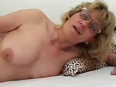 Blonde Granny in Glasses Fucks Boy