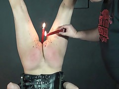 Alienation - hooded slavegirl suspended and burnt