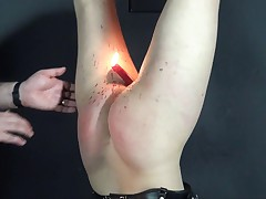Alienation - hooded slavegirl suspended and burnt