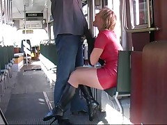 Red latex skirt ballet boots blows