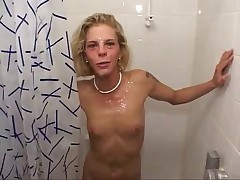 Gangbang Cumbath For Skinny Blonde Slut