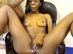 African girl masturbates in office