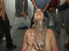 Awesome chick swallows litres of sperm