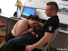 Chubby office girl gets pounded