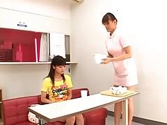 Nurse gives the girl the treat