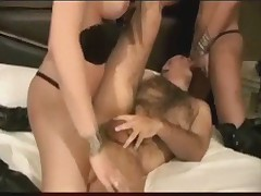 Threesome with two brunette shemales and a guy Part 1 of 2
