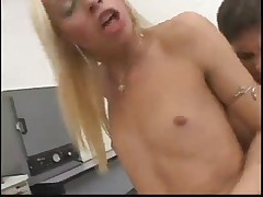 Blonde Shemale fucked in Dentist Room