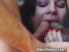 Transsexual Getting a Two Cock Tag Team