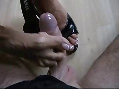 Cockmassage with Black Mules