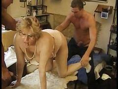 Hot Chubby German Blonde Mature Gets Two Cocks