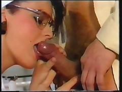 Horny nurse milking semen