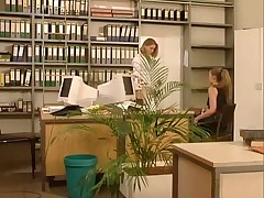 Hot office lesbians thrusting bananas