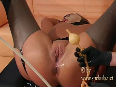 Ass filled with milk - kinky enema