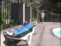 Busty Nurse Kat Kleevage Poolside