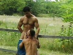 Two gays fucking outdoors
