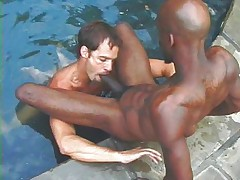 Interractial gay action at the pool