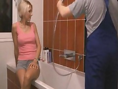 Blond Girl Sucks And Fucks In Bathroom