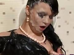 Gloryhole Messy Fetish Slut Fucks Fake Cock