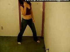 Girl Dancing Seductively In Tight Jeans