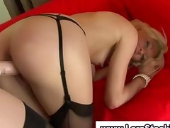 Mature European Lesbo Fucks Babe In Stockings With A Strapon