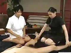 Japanese Trainee Taught Art Of Perfect Cfnm Handjob