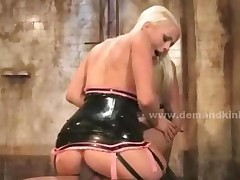 Blonde Mistress Costumed In Leather Spanks Whips And Fucks..