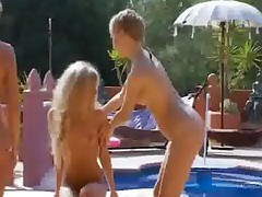 Three Blonde Lezzies Toying With Dildo Outdoor Next To A..