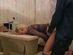 Sexy Russian Slut In Fishnet Fucked By Her Neighbour On..