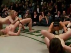 Lesbian Wrestlers Strapon Fucked