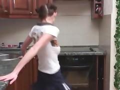 German Dashas Striptease In A Kitchen