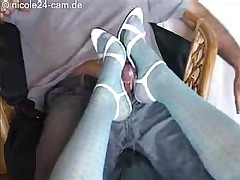 Shoe Job Cock Cum On High Heels Pantyhose Slut Nylon Hot..