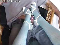 Shoe Job Cock Cum On High Heels Pantyhose Slut Nylon Hot..