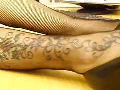 Lucy Fishnet Foot Tease