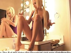 A Sexy Naked Blonde In The Bathroom To Wash Their Feet
