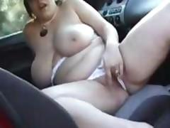Bbw Kicky, Huge Tits, Masturbates In A Car