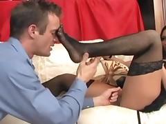 Busty Audrey Bitoni Very Sexy Footjob