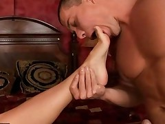 Sexy Bonde Giving Footjob And Getting Fucked