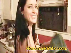Hot Brunette Gets Fucked In The Kitchen