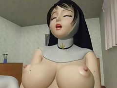 Horny Busty Nun Masturbate