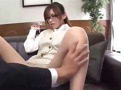 Secretary In Pantyhose Fucked With Vibrator Giving Blowjob..