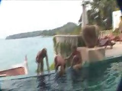 Little Teen Girls Playing In The Pool